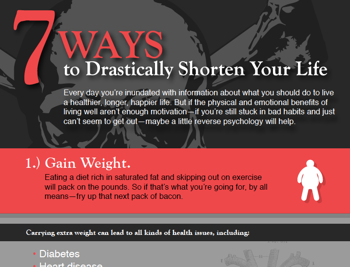 7 ways to drastically shorten your life infographic
