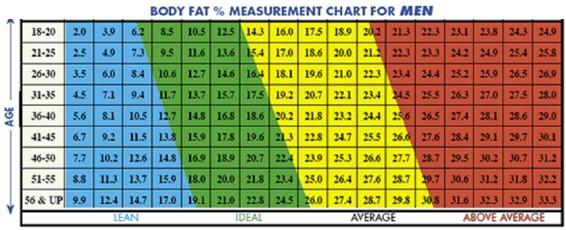 Body fat percentage in men