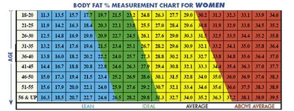 Women body fat percentage